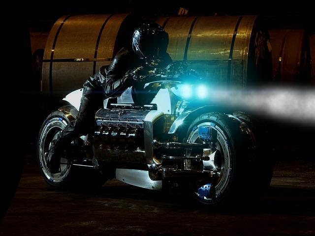 svítící motorka